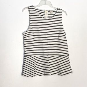 J Crew Black & White Striped Peplum Top Medium